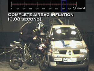 holding trophy airbag crash 3