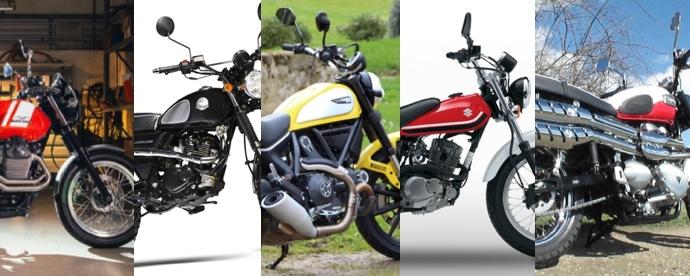 Comparatif 5 scramblers : Ducati Triumph Moto-Guzzi Suzuki et Mash par Jean-Michel Lainé