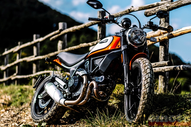 ducati scrambler 800 icon en coloris atomic tangerine