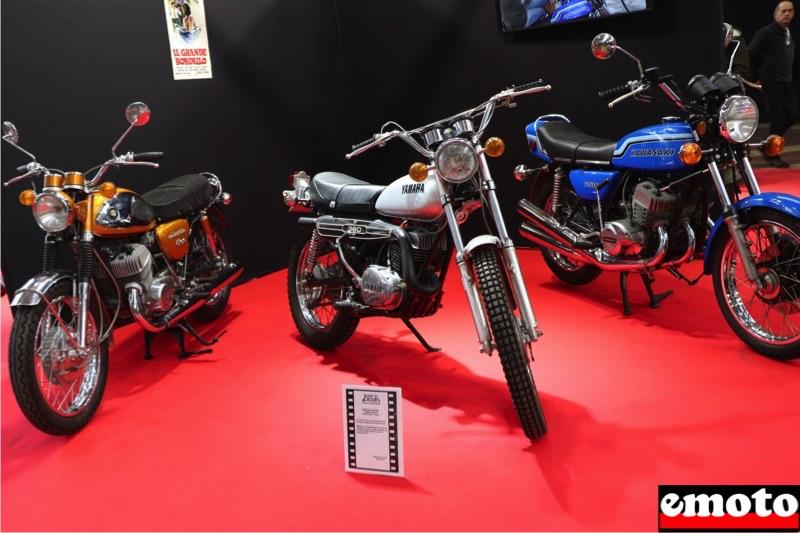 Motos du cinéma au salon du deux-roues de Lyon en 20 films Suzuki-500t-cobra-yamaha-360-rt2-et-kawasaki-750-h2b-dans-il-grande-bordello